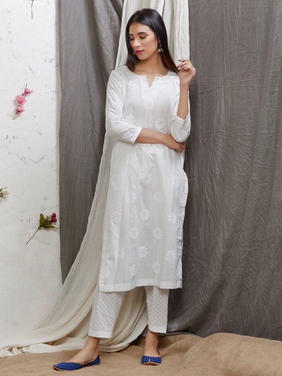Ivory Hand Block Printed Cotton Kameez with Salwar and Dupatta - Set of 3