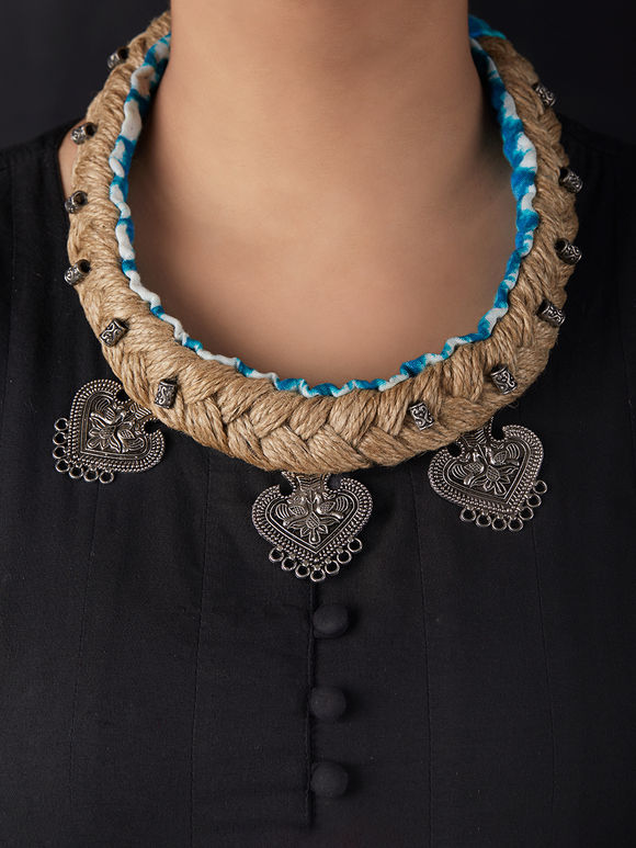 Brown Blue Handcrafted Jute Choker