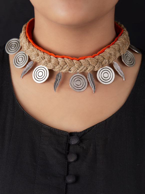 Brown Orange Handcrafted Jute Choker