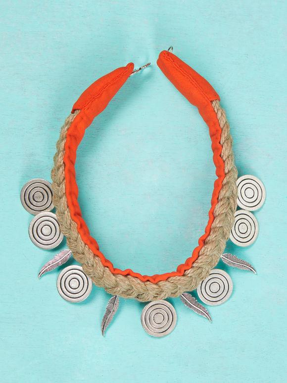Brown Orange Handcrafted Jute Choker