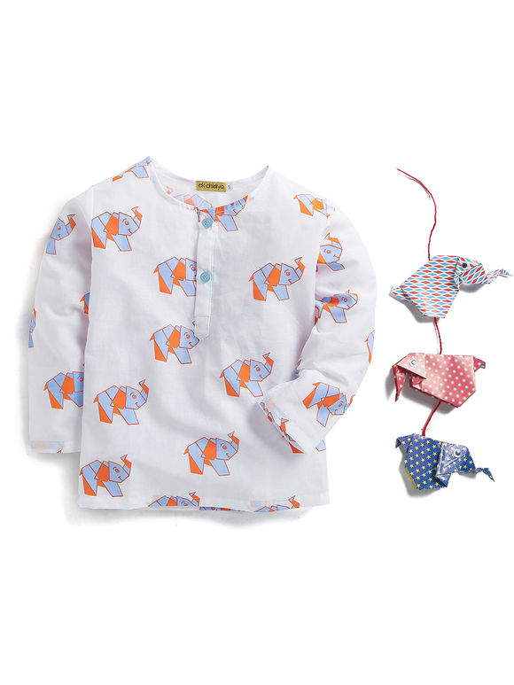 White Blue Elephant Printed Cotton Night Suit For Boys & Girls
