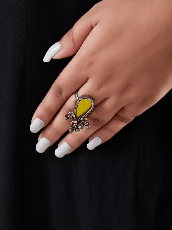 Yellow Handcrafted Inverted Drop Silver Ring
