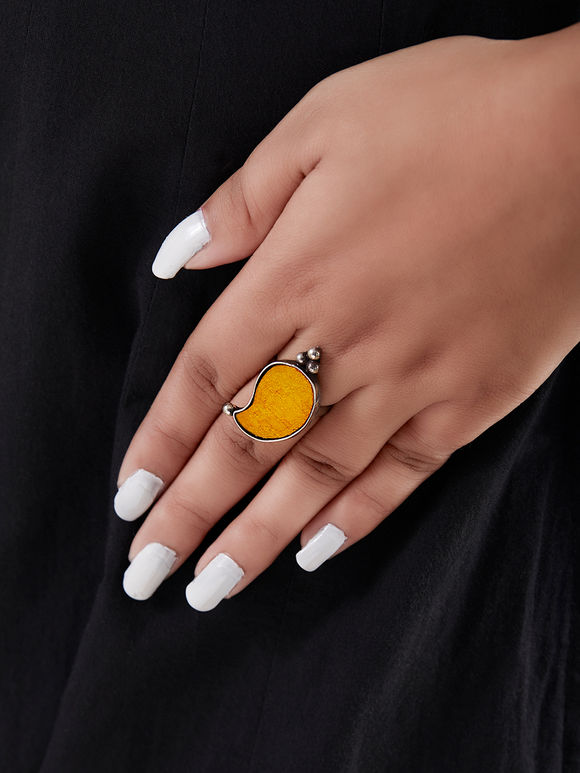 Yellow Handcrafted Silver Ring