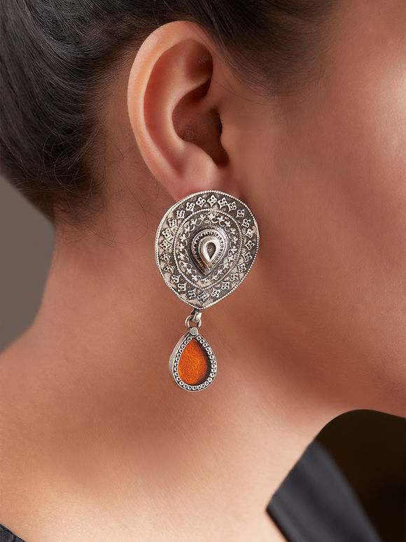 Orange Handcrafted Drop Silver Earrings