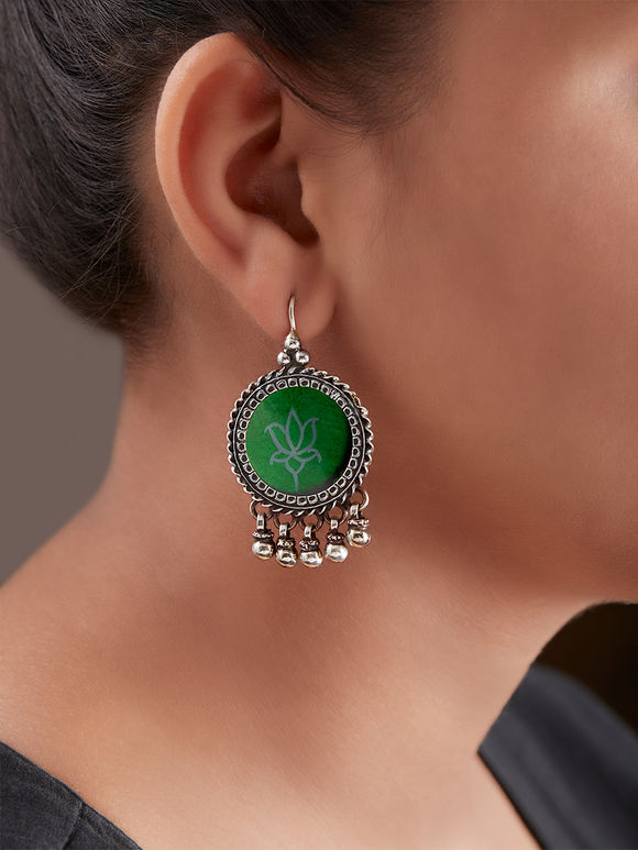 Green Handcrafted Circle Silver Earrings
