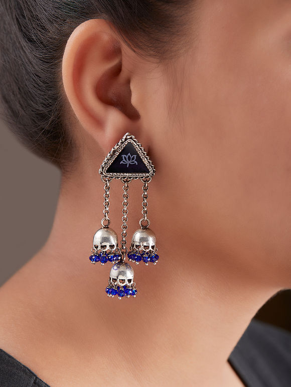 Blue Handcrafted Triangle Silver Jhumkies