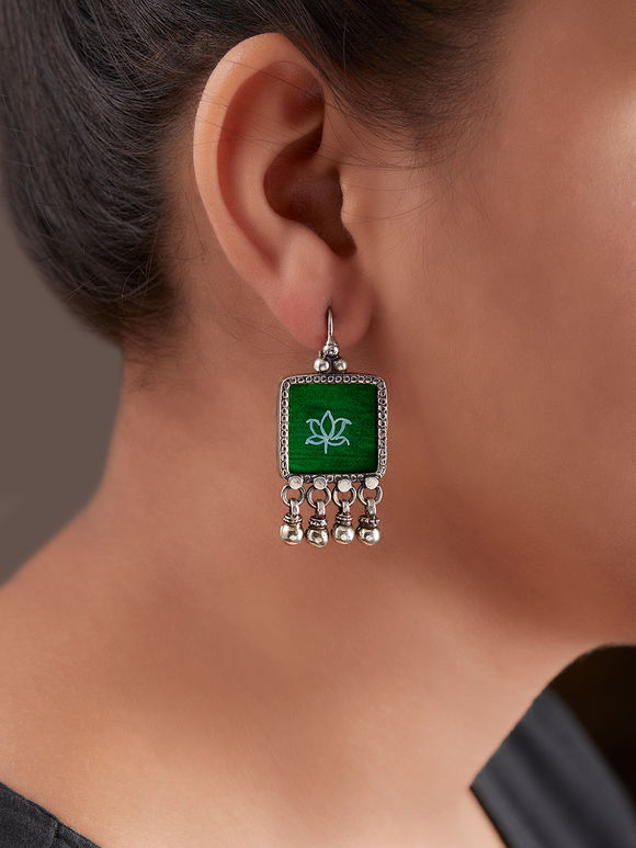 Green Handcrafted Square Silver Earrings