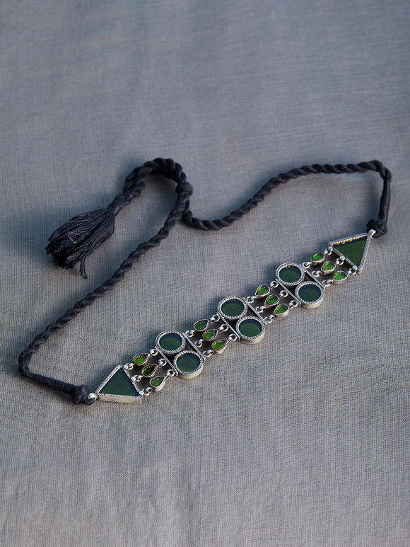 Green Handcrafted Circle Triangle Silver Necklace