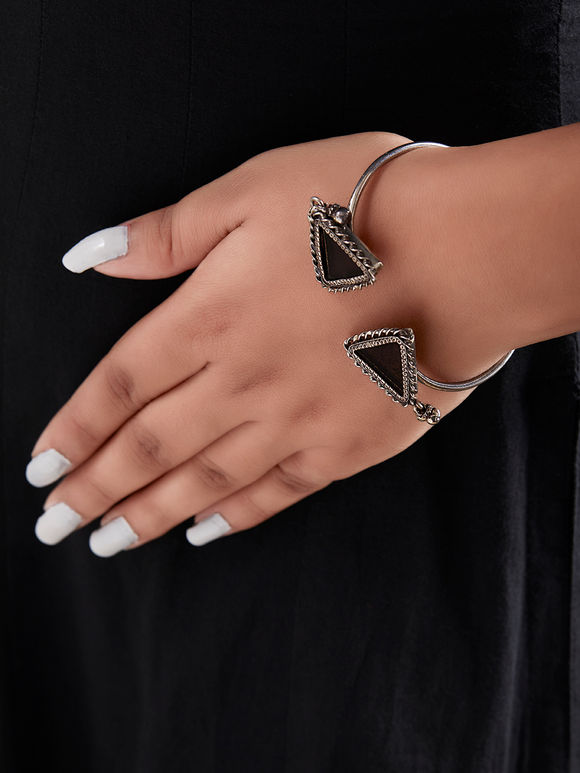 Black Handcrafted Triangle Cuff Silver Bracelet