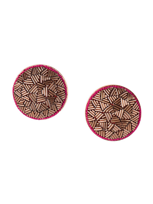 Gold Plated Hand Embroidered Silk Earrings