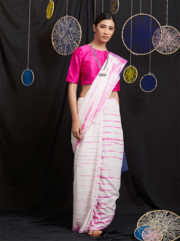 Blue Pink Tie and Dye Cotton Saree