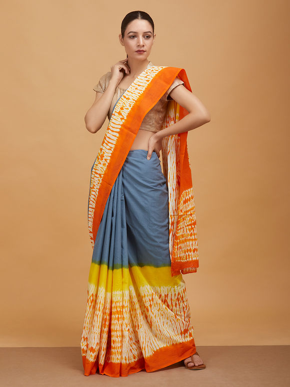 Grey Orange Tie and Dye Cotton Mulmul Saree