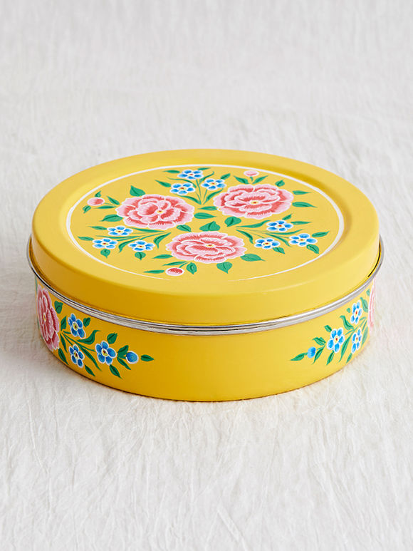 Yellow Hand Painted Steel Spice Box