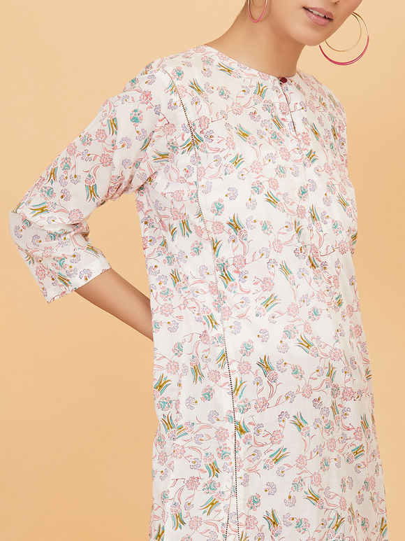 White Floral Hand Block Printed Cotton Dress