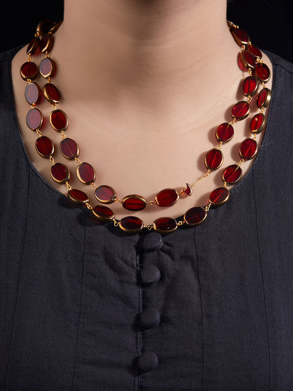 Red Beaded Handcrafted Necklace