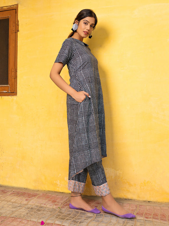 Black Hand Block Printed Cotton Kurta with Pants - Set of 2