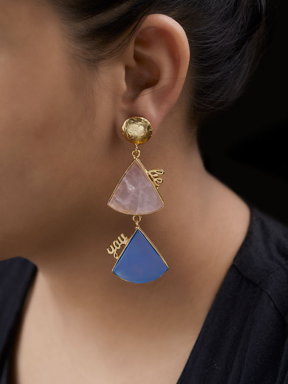 Blue Pink Handcrafted Brass Triangle Earrings