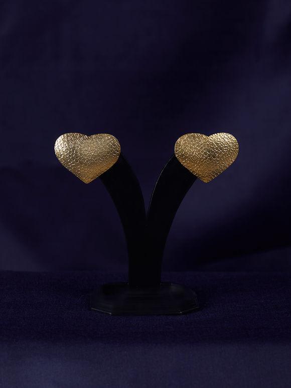 Gold Toned Handcrafted Brass Heart Earrings