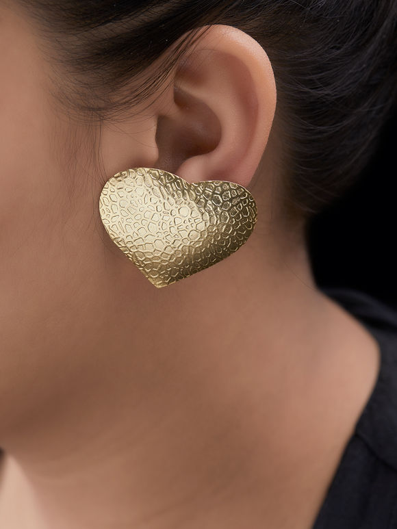Gold Toned Handcrafted Brass Heart Earrings