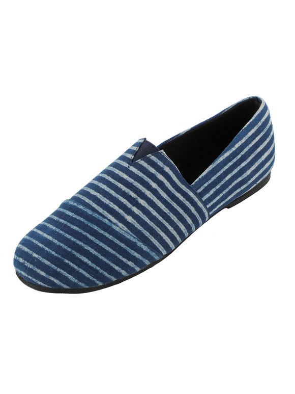 Indigo White Striped Handcrafted Cotton Shoes