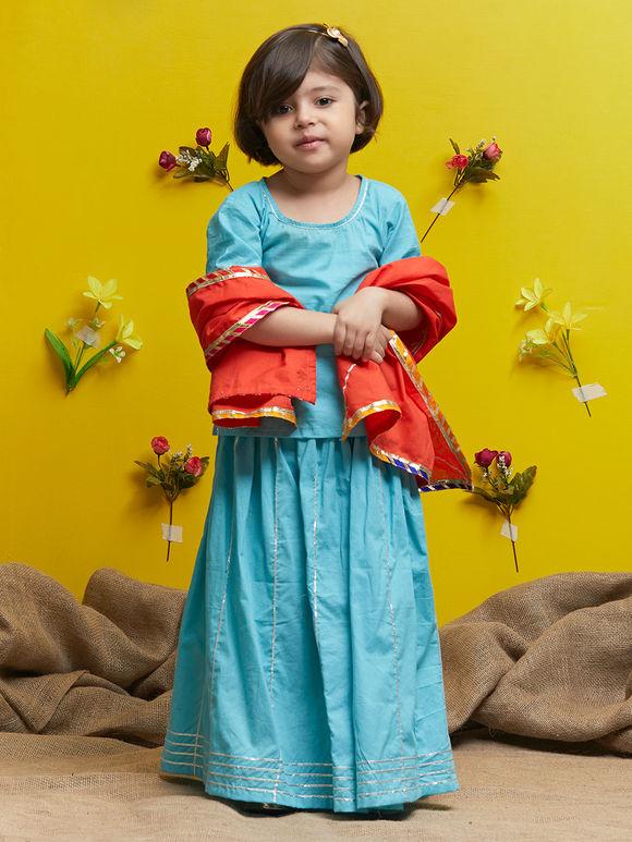 Blue Orange Cotton Lehenga - Set of 3