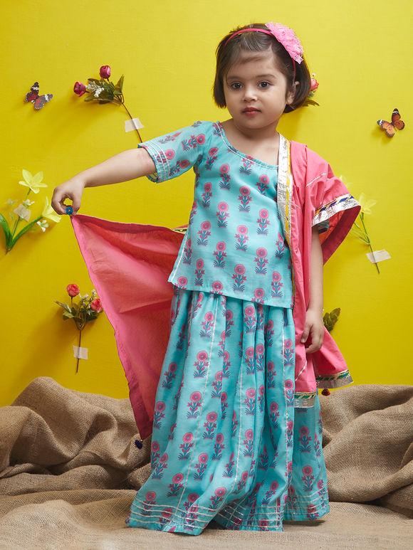 Blue Pink Floral Printed Cotton Lehenga - Set of 3