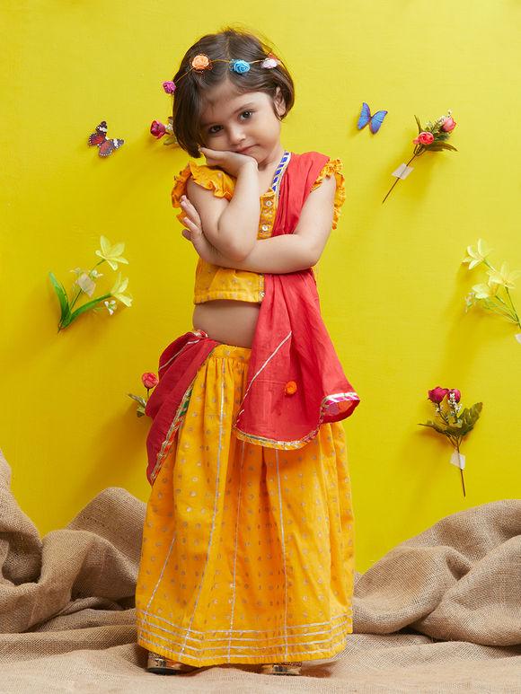 Yellow Red Cotton Lehenga - Set of 3