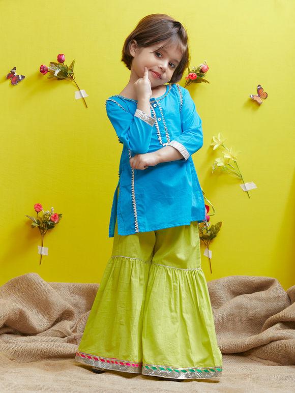 Blue Cotton Kurta with Lime Green Sharara - Set of 2
