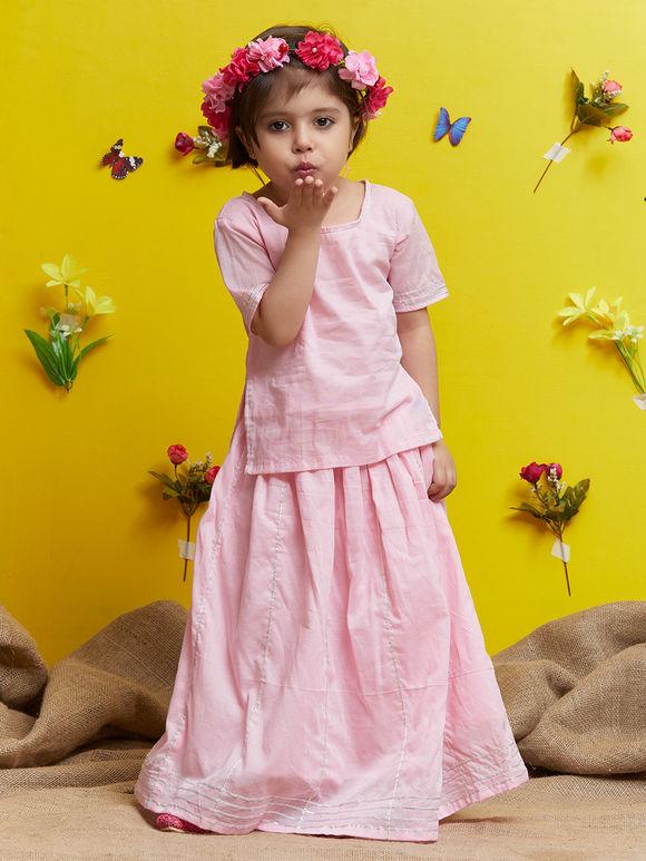 Pink Cotton Lehenga with Top - Set of 2
