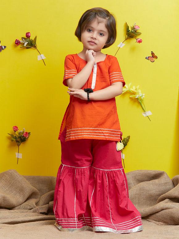 Red Cotton Kurta with Pink Sharara - Set of 2