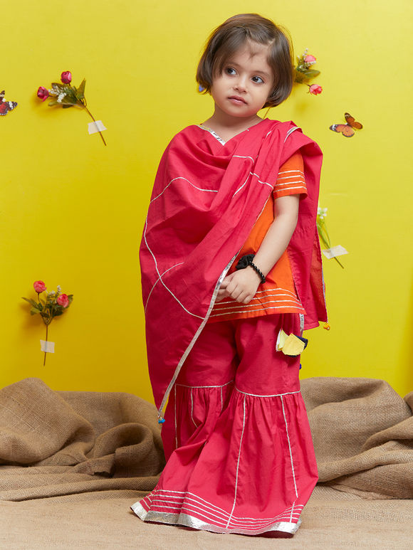 Red Cotton Pink Sharara Suit - Set of 3