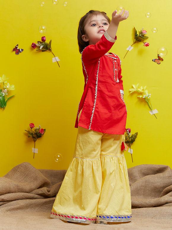 Red Cotton Kurta with Yellow Sharara - Set of 2