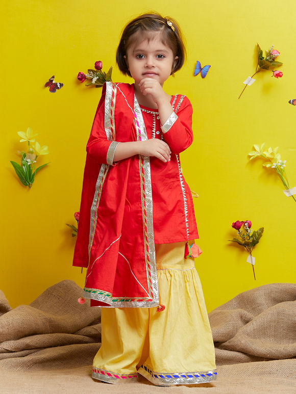 Red Cotton Yellow Sharara Suit - Set of 3