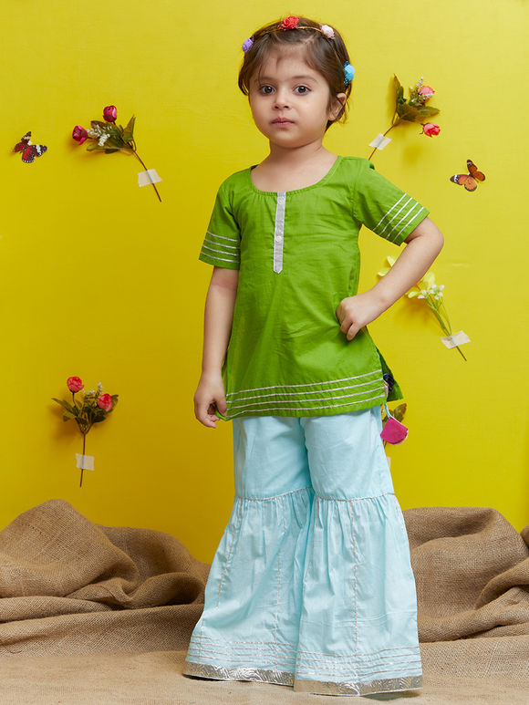 Green Cotton Kurta with Sky Blue Sharara - Set of 2