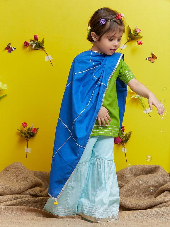 Green Cotton Blue Sharara Suit - Set of 3