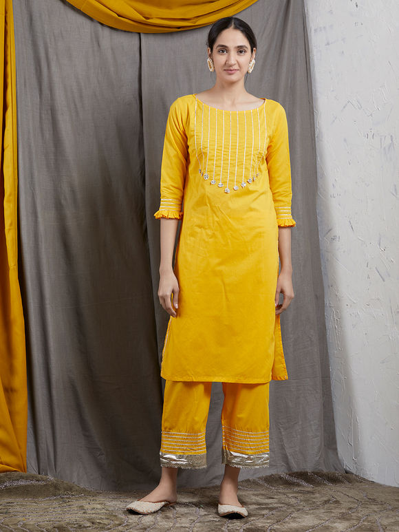Yellow Hand Block Printed Cotton Suit - Set of 3