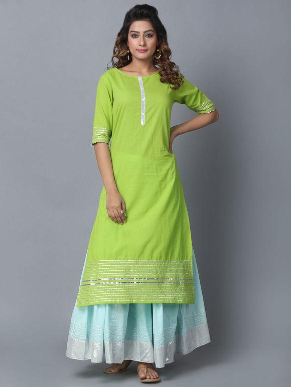 Green Cotton Gota Kurta with Sky Blue Sharara and Dupatta - Set of 3
