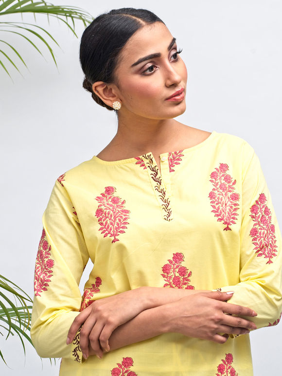 Yellow Hand Block Printed Cotton Kurta with Pants - Set of 2