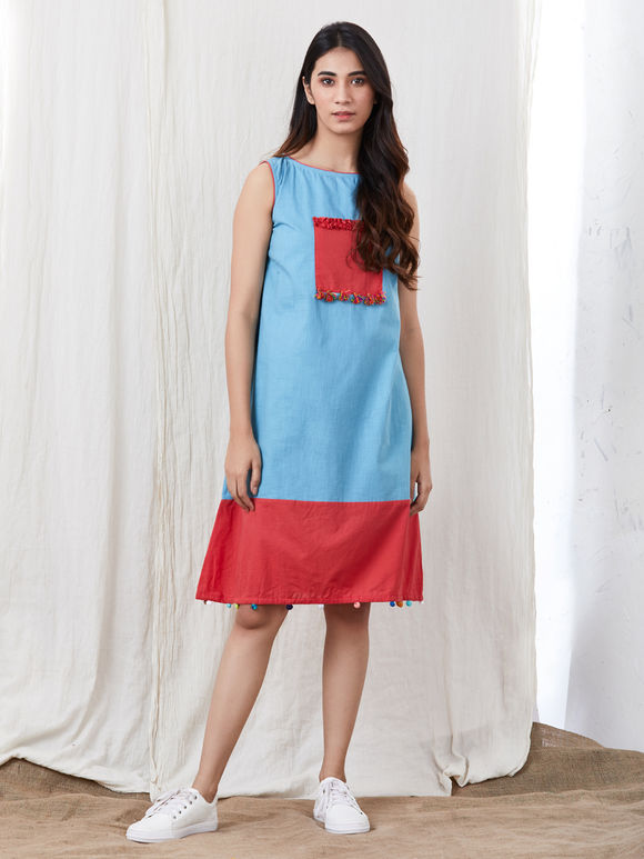 Blue Red Cotton Dress