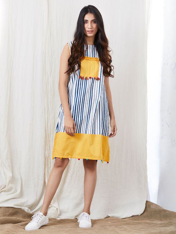 Blue White Striped Cotton Dress