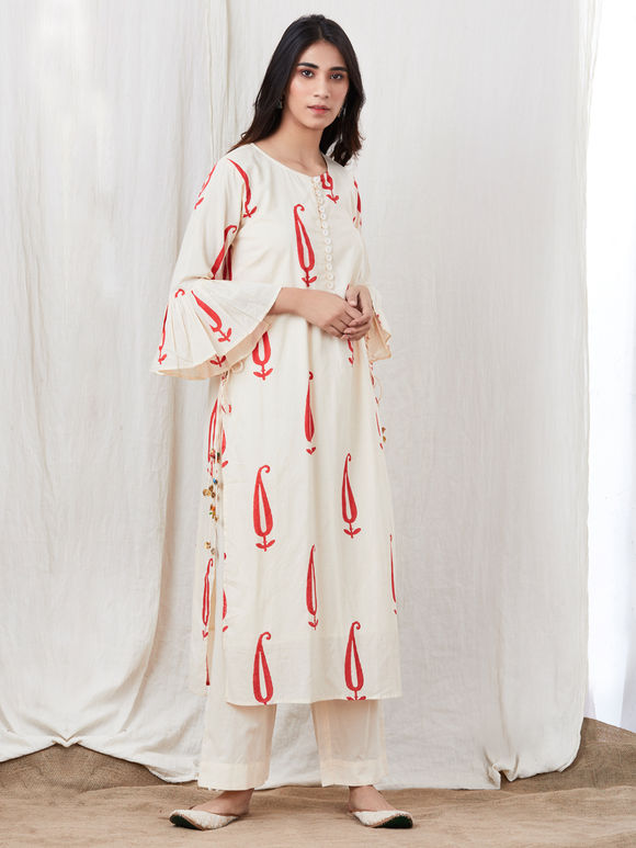Off White Hand Block Printed Cotton Kurta with Pants - Set of 2