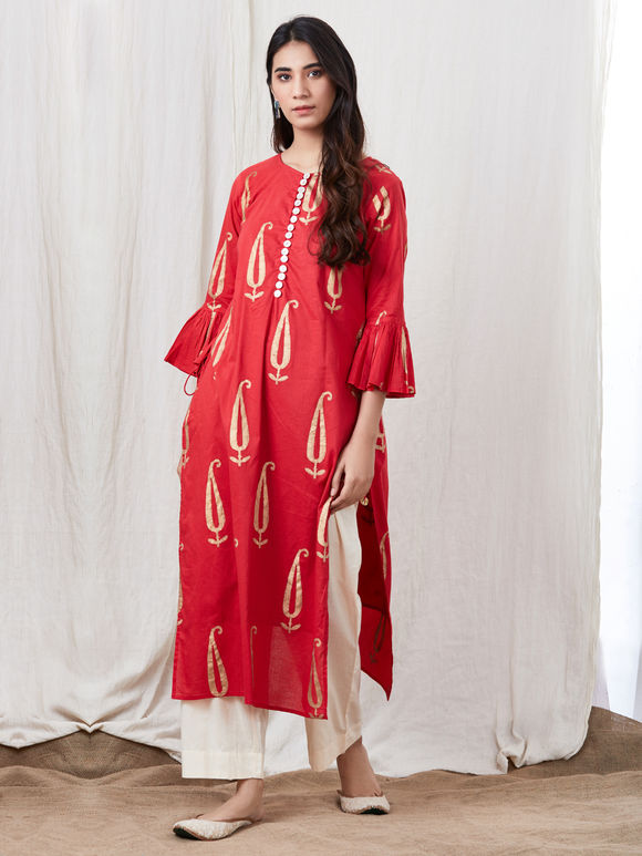 Red Hand Block Printed Cotton Kurta with Off White Pants - Set of 2