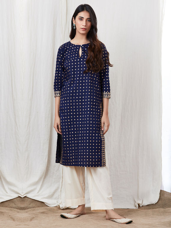 Blue Hand Block Printed Cotton Kurta with Off White Pants - Set of 2