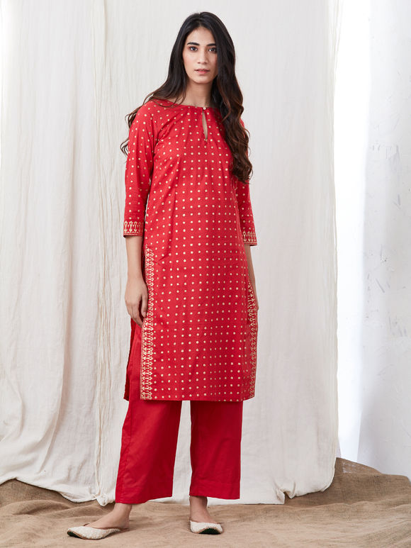 Red Hand Block Printed Cotton Kurta with Pants - Set of 2