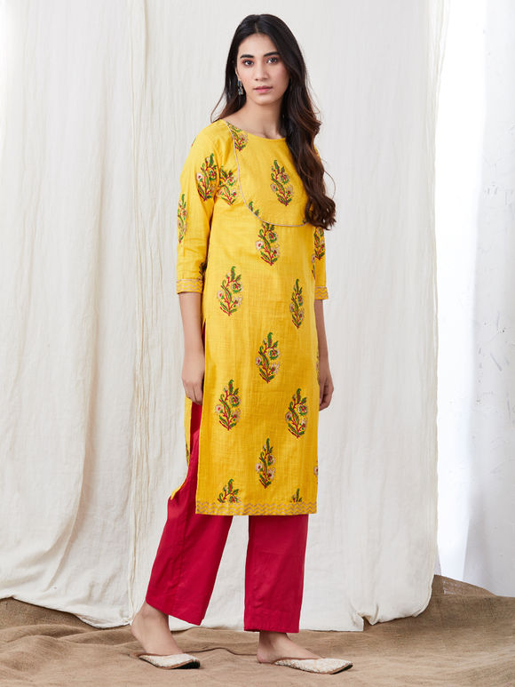 Yellow Hand Block Printed Cotton Kurta with Red Pants - Set of 2