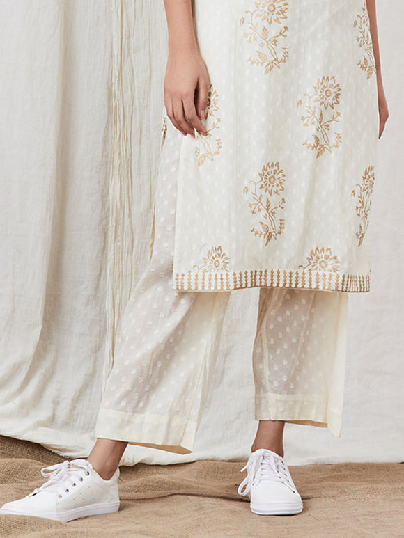 White Hand Block Printed Cotton Pants