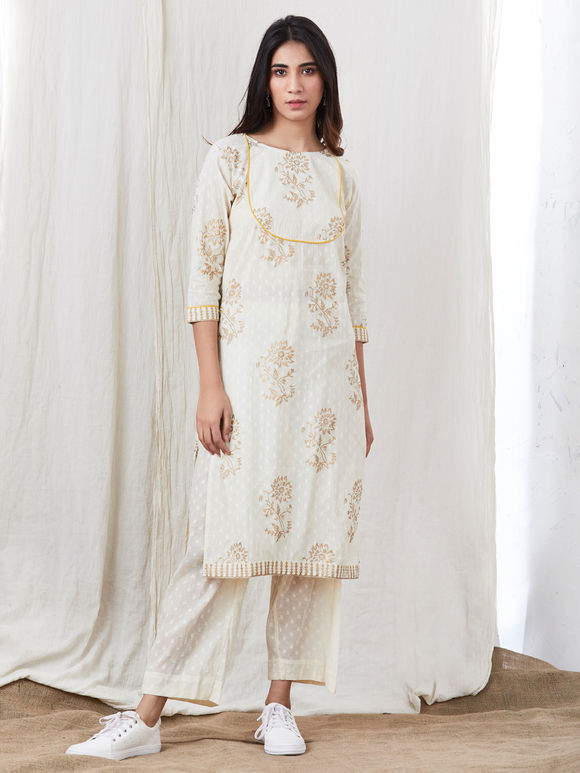 Off White Hand Block Printed Cotton Kurta with Off White Pants - Set of 2