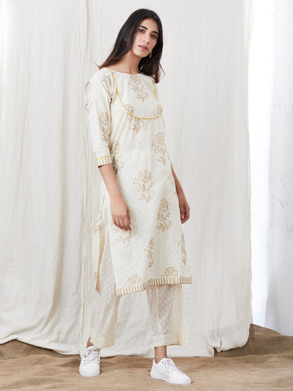 White Hand Block Printed Cotton Kurta
