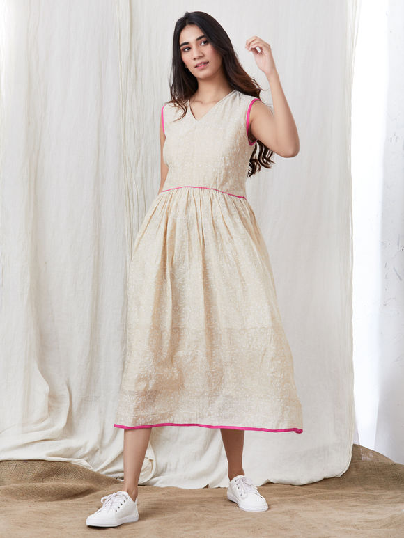 Beige Hand Block Printed Cotton Dress