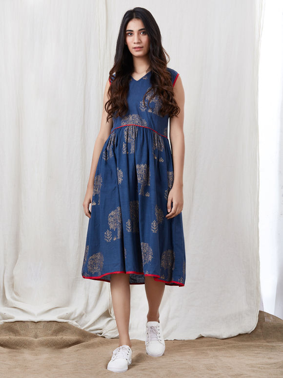Navy Blue Hand Block Printed Cotton Dress